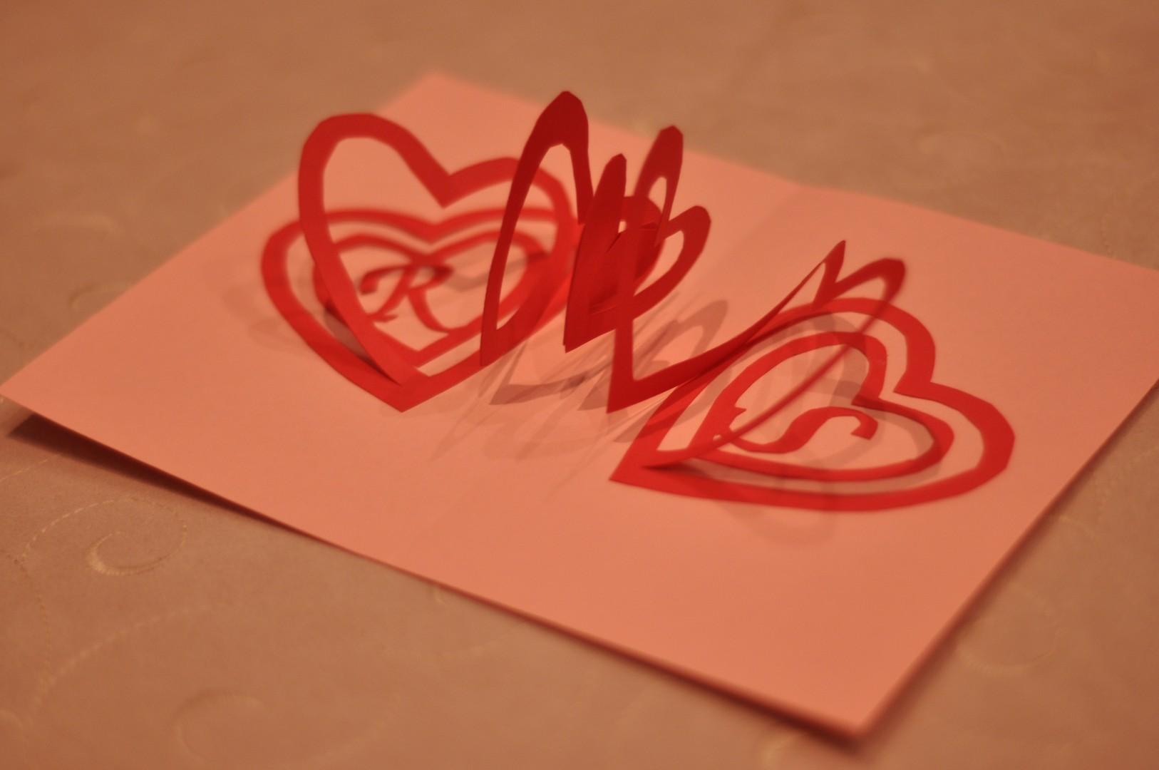 Valentines pop up card spiral heart