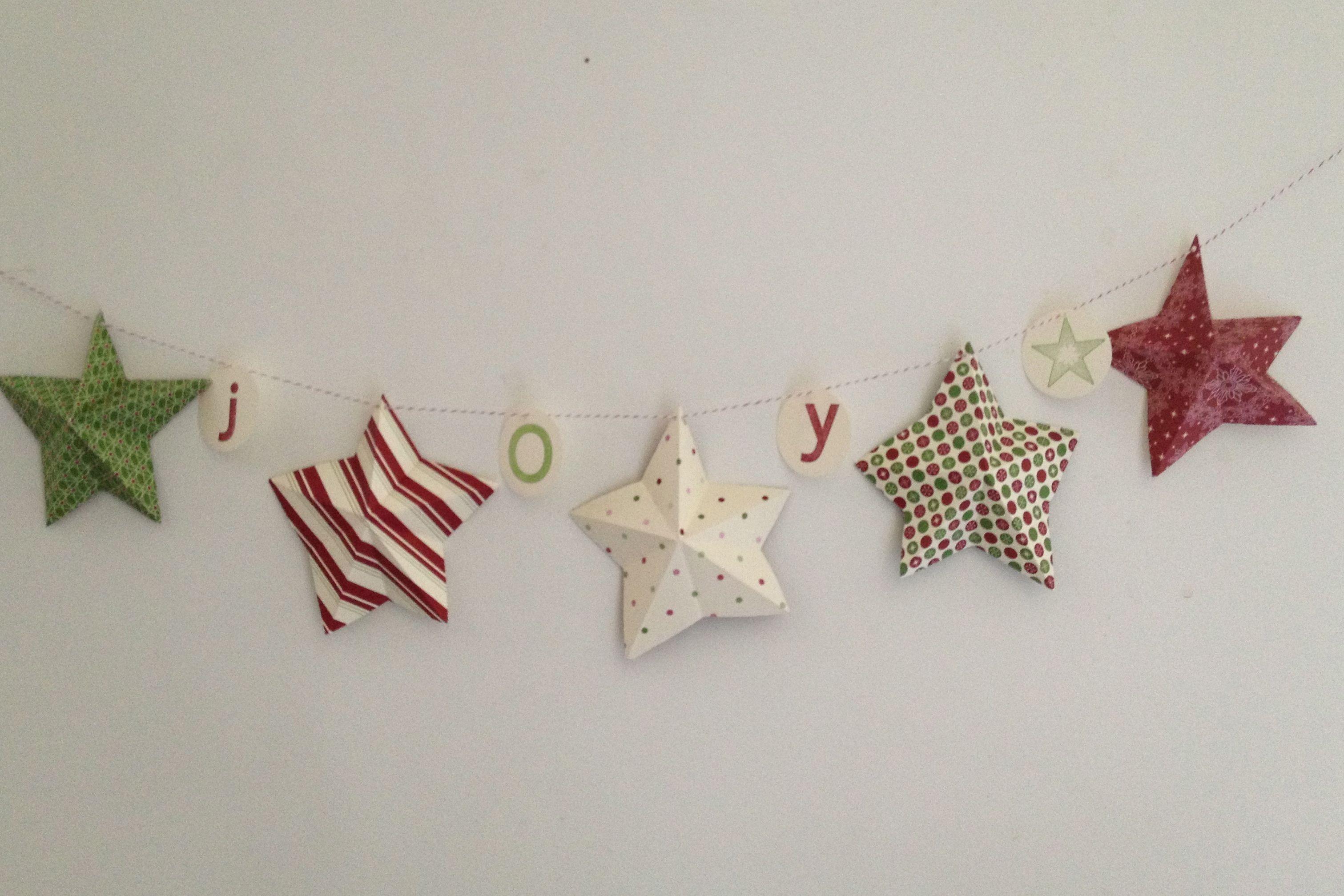 すべての折り紙 立体的な折り紙 : Christmas Garland