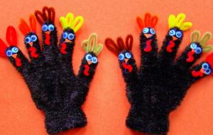 ニワトリの手袋指人形の作り方