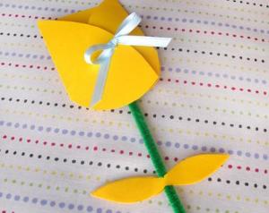 チューリップの手作りカード
