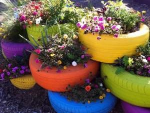 タイヤの花壇