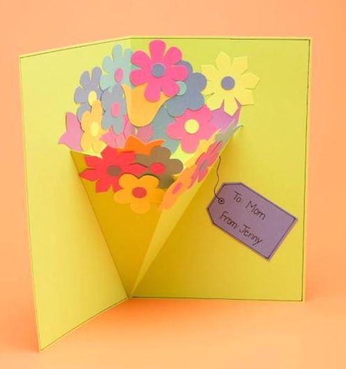 すべての折り紙 立体 リボン 折り紙 : 母の日の手作りカード・花束が ...