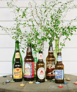 ビール瓶のリサイクル花瓶