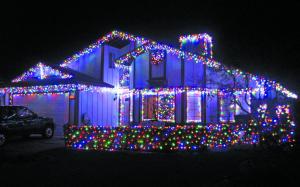 ブルー飾り付けクリスマス