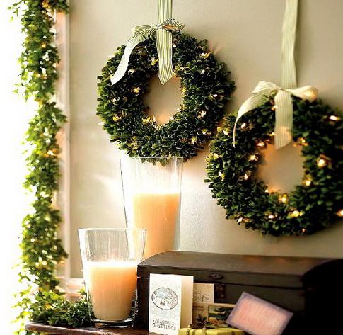 玄関壁クリスマス飾り方