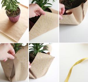 鉢植えの花のギフトラップ方法