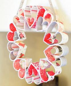 紙バレンタインリース作り方