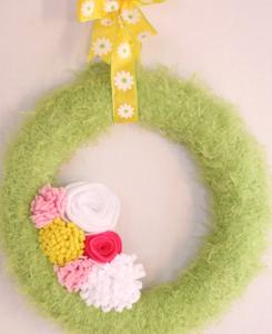 かわいい緑の春リース作り方