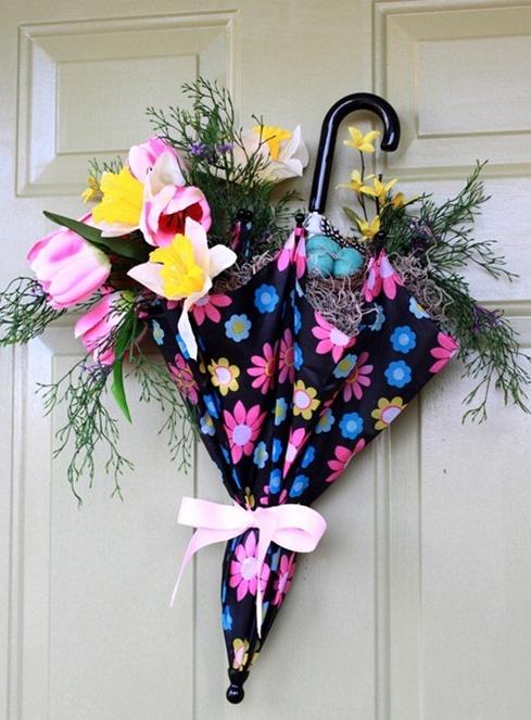 手作り春のお花リース傘