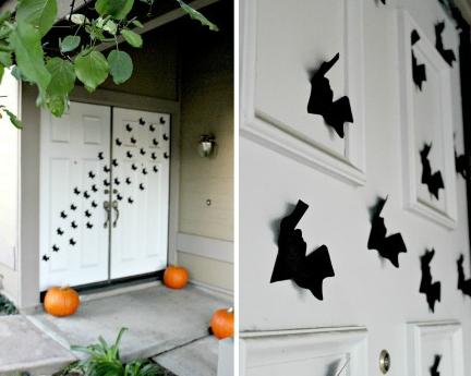 ハロウィン玄関ドアコウモリ