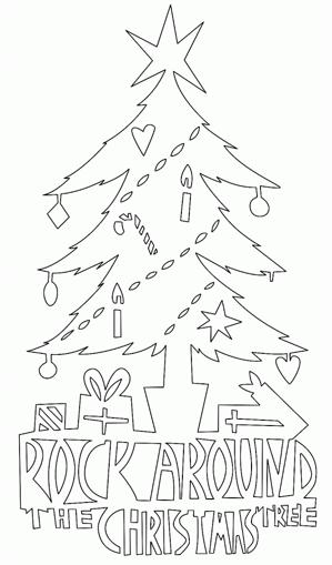 クリスマスツリー切り絵カード型紙