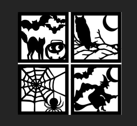 ハロウィン窓影絵テンプレート