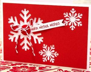 切り絵クリスマスカード雪作り方