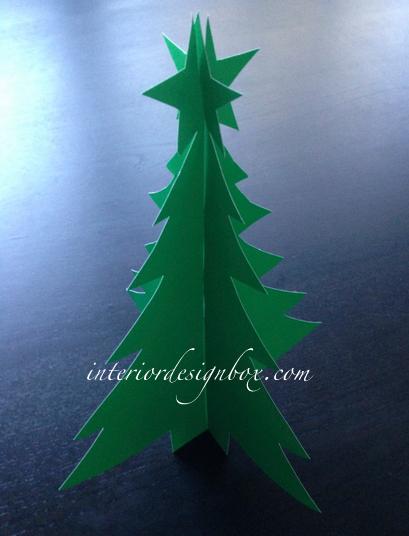 立体クリスマスツリー画用紙手作り