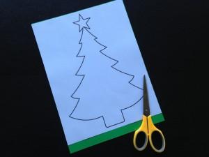 画用紙クリスマスツリー作り方