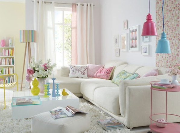 Interior design box for Pastel pink and yellow bedroom
