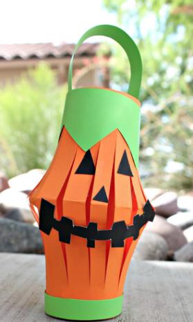 紙かぼちゃランタン工作クラフト